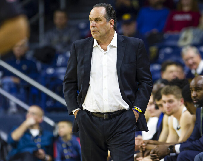 Notre Dame head coach Mike Brey watches during an NCAA college basketball game against Fairleigh Dickinson Tuesday, Nov. 26, 2019, in South Bend, Ind. (Michael Caterina/South Bend Tribune via AP)