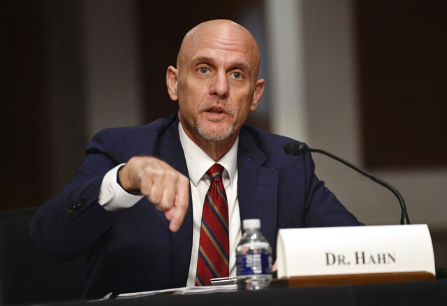 Food and Drug Administration (FDA) Commissioner Stephen Hahn, testifies before a Senate Health, Education, Labor and Pensions Committee hearing on Capitol Hill in Washington, Tuesday, June 30, 2020. (Kevin Dietsch/Pool via AP)
