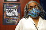 """Clinician and social worker Lisa Williams speaks at the Community Health Care Center on the Tougaloo College campus Aug. 14, 2020, in Tougaloo, Miss. Williams said although the coronavirus pandemic has made a lot of the issues that patients deal with worse, they aren't anything new. """"People have been struggling for a long, long time,"""
