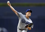 Los Angeles Dodgers starting pitcher Kenta Maeda throws to a San Diego Padres batter during the first inning of a baseball game Wednesday, July 11, 2018, in San Diego. (AP Photo/Gregory Bull)