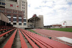 The Ed Weir track stadium, site of a new planned $150 million football training facility, is seen adjacent to Memorial Stadium, top left, on the campus of the University of Nebraska in Lincoln, Neb., Friday, Sept. 27, 2019. (AP Photo/Nati Harnik)