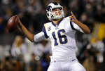 FILE - In this Sept. 10, 2018, file photo, Los Angeles Rams quarterback Jared Goff throws during the first half of an NFL football game against the Oakland Raiders in Oakland, Calif. The wide-eyed, talented Goff will try to lead his Rams past the grizzled, 41-year-old Tom Brady, who is looking to guide the New England Patriots to their sixth Super Bowl victory.  (AP Photo/John Hefti, File)