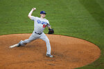 Los Angeles Dodgers starting pitcher Ross Stripling pitches during the fifth inning of a baseball game against the Philadelphia Phillies, Thursday, July 18, 2019, in Philadelphia. (AP Photo/Matt Slocum)