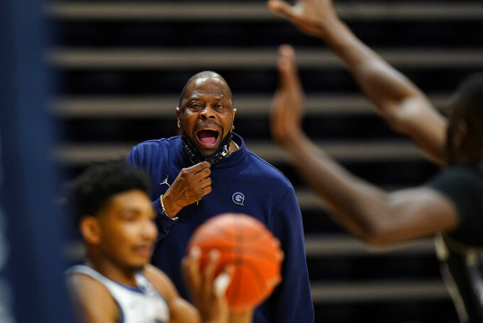 Georgetown head coach Patrick Ewing yells during the first half of an NCAA college basketball game against Villanova, Sunday, Feb. 7, 2021, in Villanova, Pa. (AP Photo/Matt Slocum)