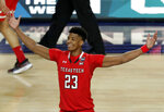 Texas Tech's Jarrett Culver (23) celebrates after defeating Michigan State 61-51 in the second half in the semifinals of the Final Four NCAA college basketball tournament, Saturday, April 6, 2019, in Minneapolis. (AP Photo/Matt York)