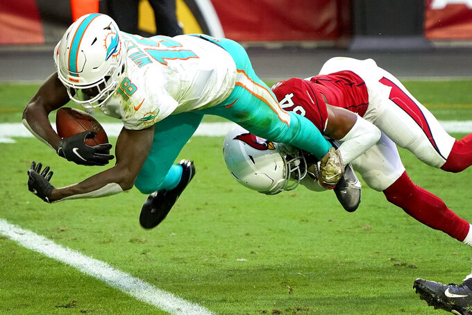 Miami Dolphins wide receiver Preston Williams (18) falls in for a touchdown as Arizona Cardinals free safety Jalen Thompson (34) defends during the first half of an NFL football game, Sunday, Nov. 8, 2020, in Glendale, Ariz. (AP Photo/Rick Scuteri)