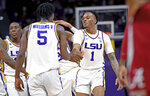 LSU guard Ja'vonte Smart (1) celebrates the dunk play made by LSU forward Emmitt Williams (5) in the first half of an NCAA college basketball game against Alabama, Wednesday, Jan. 29, 2020, in Baton Rouge, La. LSU won 90-76. (AP Photo/Bill Feig)