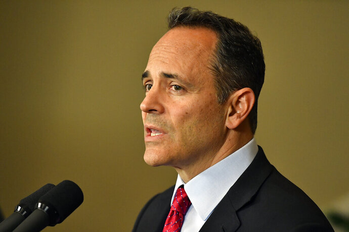 Kentucky Governor Matt Bevin announces his intent to call for a recanvass of the voting results from Tuesday's gubernatorial elections during a press conference at the Governor's Mansion in Frankfort, Ky., Wednesday, Nov. 6, 2019. (AP Photo/Timothy D. Easley)