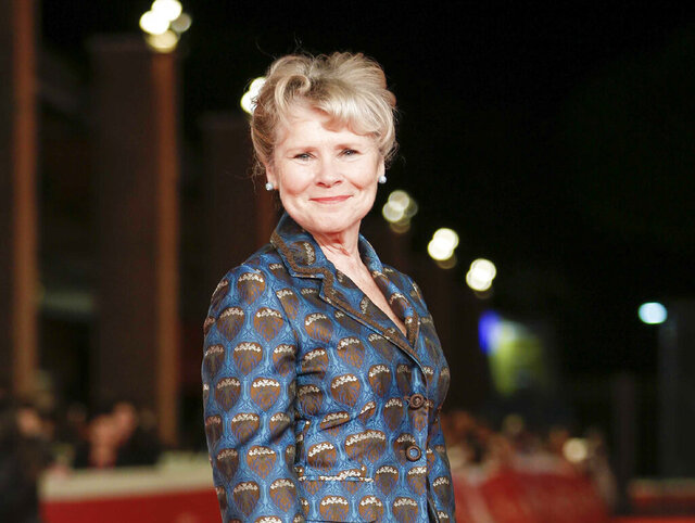 FILE - This Oct. 19, 2019 file photo shows actress Imelda Staunton on the red carpet for the movie