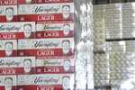 Cases of canned Yuengling Traditional Lager are stacked in the warehouse of the D.G. Yuengling & Son Brewery Mill Creek plant on Tuesday, July 21, 2020. (Lindsey Shuey/Republican-Herald via AP)