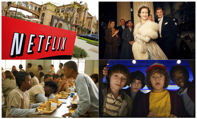 This combination photo shows, clockwise from top left, Netflix headquarters in Los Gatos, Calif., Claire Foy and Matt Smith in a scene from