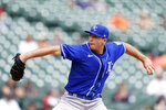 Kansas City Royals relief pitcher Kris Bubic throws during the fourth inning of a baseball game against the Detroit Tigers, Thursday, May 13, 2021, in Detroit. (AP Photo/Carlos Osorio)