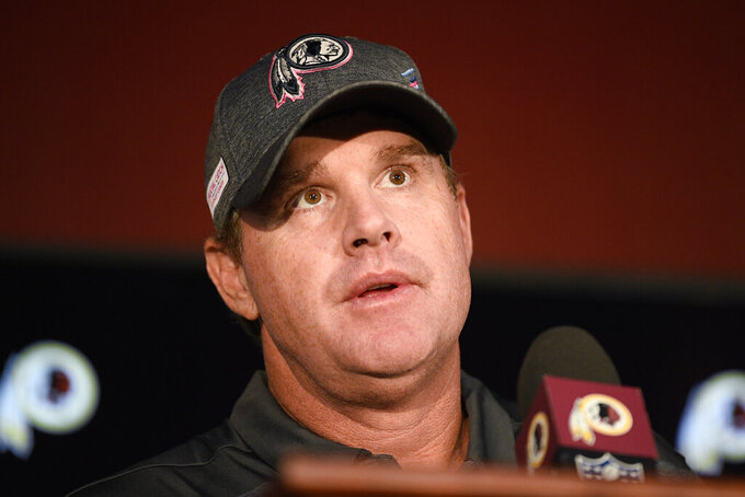 CORRECTS THE DATELINE TO LANDOVER, MD., AND NOT WASHINGTON AS ORIGINALLY SENT - Washington Redskins head coach Jay Gruden speaks at a news conference after an NFL football game against the New England Patriots, Sunday, Oct. 6, 2019, in Landover, Md. The New England Patriots won 33-7. Gruden was fired as head coach of the Washington Redskins on Monday after an 0-5 start to the sixth season of a tenure that featured only one playoff appearance.  (AP Photo/Nick Wass)
