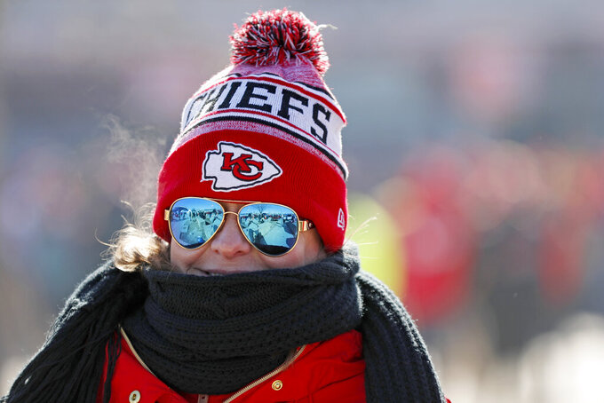 Kelli Dawson is seen outside Arrowhead Stadium before the NFL AFC Championship football game between the Kansas City Chiefs and the Tennessee Titans Sunday, Jan. 19, 2020, in Kansas City, MO. (AP Photo/Jeff Roberson)