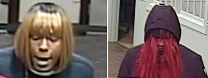 "This photo combo provided by the FBI shows a person of interests in connection of bank robberies in in North Carolina. The FBI is asking the public's help in catching a so-called ""bad wig bandit"" who's been robbing banks in North Carolina. The FBI said in a statement on Thursday, Jan. 9, 2020, that the suspect wore a different wig during each heist in the Charlotte area. (FBI via AP)"