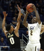 California's Juhwan Harris-Dyson, right, shoots as Colorado's Shane Gatling defends during the first half of an NCAA college basketball game Thursday, Jan. 24, 2019, in Berkeley, Calif. (AP Photo/Ben Margot)