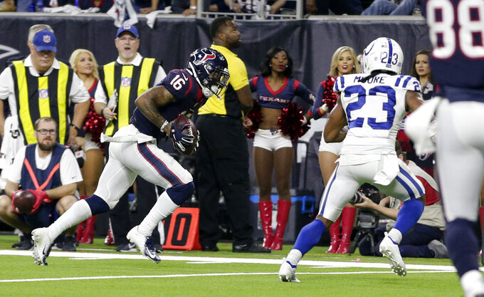 Houston Texans wide receiver Keke Coutee (16) runs for a touchdown against the Indianapolis Colts during the second half of an NFL wild card playoff football game, Saturday, Jan. 5, 2019, in Houston. (AP Photo/Michael Wyke)