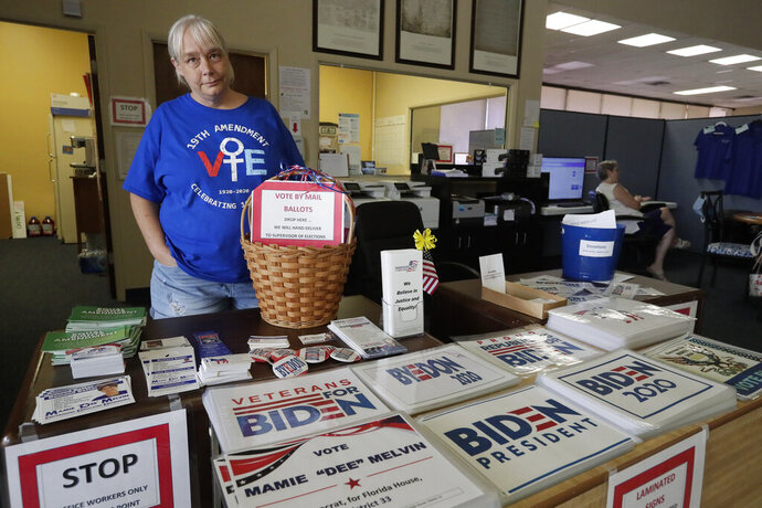 Chris Stanley, leader of The Villages Democrats Club, shows off some of the signs available at the Democratic Headquarters Monday, June 29, 2020, in Wildwood, Fla. Residents of The Villages say they've never seen anything like the politically inspired hostilities that have surfaced over the past several months. (AP Photo/John Raoux)