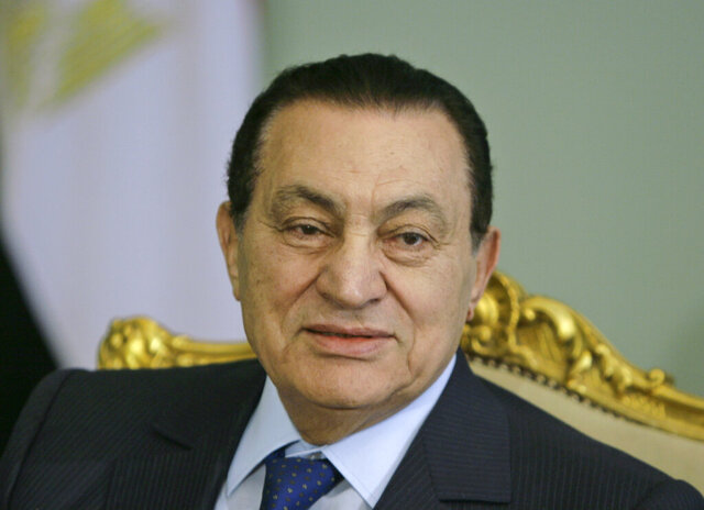 FILE - In this April 2, 2008 file photo, Egyptian President Hosni Mubarak looks attends a meeting at the Presidential palace, in Cairo, Egypt. Egypt state TV said Tuesday, Feb. 25, 2020. that the country's former President Hosni Mubarak, ousted in the 2011 uprising, has died at 91. (AP Photo/Amr Nabil, File)