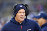 Connecticut head coach Randy Edsall works the sideline during the first half of an NCAA college football game against Temple, Saturday, Nov. 24, 2018, in East Hartford, Conn. (AP Photo/Stephen Dunn)