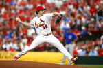 St. Louis Cardinals starting pitcher Miles Mikolas throws during the first inning of the team's baseball game against the Chicago Cubs on Friday, May 31, 2019, in St. Louis. (AP Photo/Scott Kane)