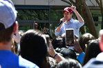 Democrat Beto O'Rourke address a crowd of several hundred at the University of South Carolina in Columbia, S.C., on Friday, March 22, 2019. The former Texas congressman is making his first visit as a presidential candidate to South Carolina, home of the first primary in the South. (AP Photo/Meg Kinnard)