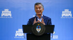 Argentina's President Mauricio Macri speaks at a press conference in Buenos Aires, Argentina, Wednesday, May 16, 2018. Investors gave a vote of confidence to the Macri government by renewing the Central Bank titles in the midst of a currency crisis. (AP Photo/Natacha Pisarenko)