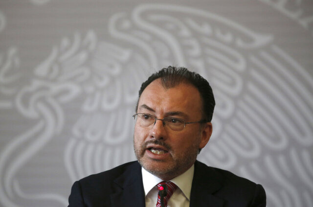 "FILE - In this  June 19, 2018 file photo, Mexican Foreign Secretary Luis Videgaray Caso speaks at a press conference in Mexico City. Videgaray has angrily denied accusations by a lawyer for another former Cabinet secretary on Tuesday, Nov. 24, 2020, who claims he used embezzled government money to finance election campaigns, calling the accusations ""completely false.""  (AP Photo/Moises Castillo, File)"