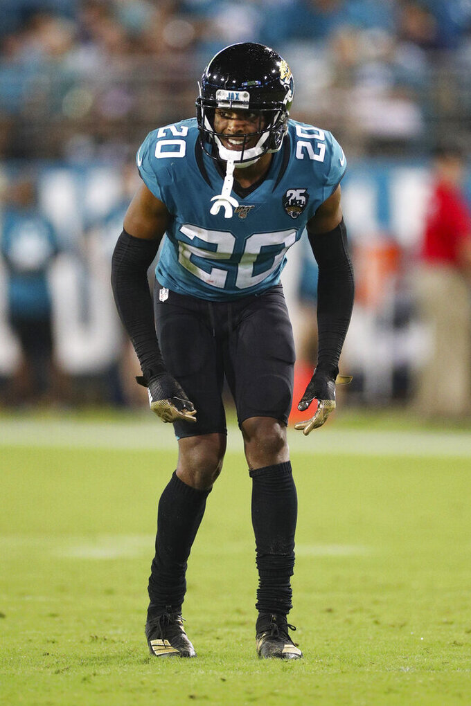 Jacksonville Jaguars cornerback Jalen Ramsey (20) takes a defensive position during an NFL game against the Tennessee Titans, Thursday, Sept. 19, 2019, in Jacksonville, Fla. The Jaguars defeated the Titans 20-7. (Margaret Bowles via AP)