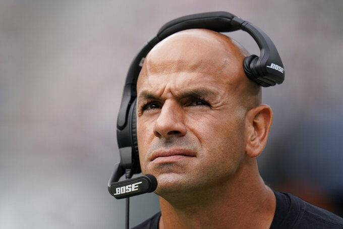 New York Jets head coach Robert Saleh works the sidelines during the first half of an NFL football game against the Tennessee Titans, Sunday, Oct. 3, 2021, in East Rutherford. (AP Photo/Seth Wenig)