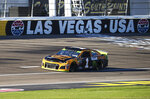 Kurt Busch drives during qualifying for a NASCAR Cup Series auto race at Las Vegas Motor Speedway, Friday, Sept. 13, 2019, in Las Vegas. (Chase Stevens/Las Vegas Review-Journal via AP)