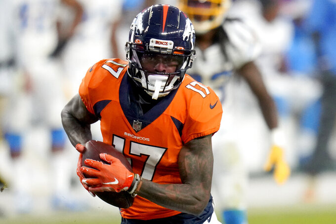 Denver Broncos wide receiver DaeSean Hamilton (17) scores a touchdown against the Los Angeles Chargers during the second half of an NFL football game, Sunday, Nov. 1, 2020, in Denver. (AP Photo/Jack Dempsey)