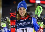 Slovakia's Petra Vlhova smiles after finishing second in the women's combined, at the alpine ski World Championships in Are, Sweden, Friday, Feb. 8, 2019. (AP Photo/Marco Trovati)