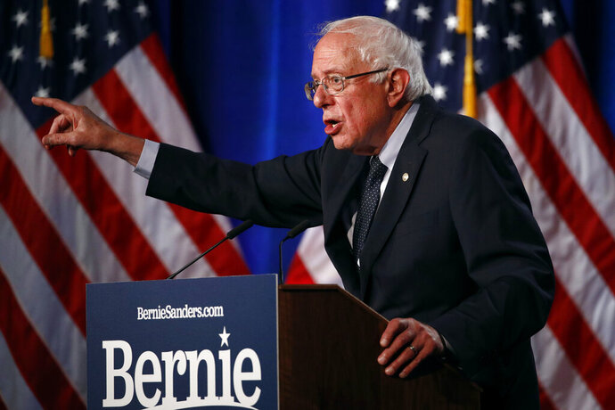 Democratic presidential candidate, Sen. Bernie Sanders, I-Vt., speaks about his