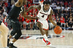 Georgia guard Tyree Crump (4) moves the ball past Vanderbilt guard Maxwell Evans (3) during an NCAA college basketball game, Wednesday, Jan. 9, 2019 in Athens, Ga. (Joshua L. Jones/Athens Banner-Herald via AP)