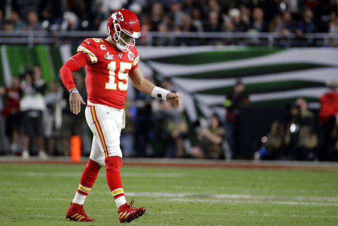 Kansas City Chiefs quarterback Patrick Mahomes (15) reacts after throwing an interception against the San Francisco 49ers during the second half of the NFL Super Bowl 54 football game Sunday, Feb. 2, 2020, in Miami Gardens, Fla. (AP Photo/Patrick Semansky)