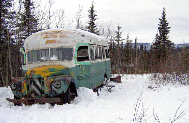 FILE - This March 21, 2006 file photo shows the abandoned bus where Christopher McCandless starved to death in 1992 on Stampede Road near Healy, Alaska. An Italian man suffering from frostbite and four other tourists were rescued in the Alaska wilderness after visiting the abandoned bus that's become a lure for adventurers since it was featured in the