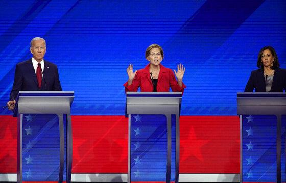 Joe Biden, Elizabeth Warren, Kamala Harris