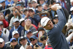 Justin Rose, of England, watches his tee sho on the fourth hole during the third round of the U.S. Open golf tournament Saturday, June 15, 2019, in Pebble Beach, Calif. (AP Photo/Matt York)