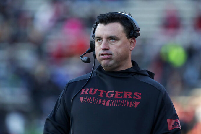 Rutgers interim head coach Nunzio Campanile reacts on the sideline during the first half of an NCAA college football game against Ohio State on Saturday, Nov. 16, 2019, in Piscataway, N.J. (AP Photo/Adam Hunger)