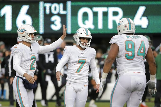 Miami Dolphins kicker Jason Sanders (7) celebrates with punter Matt Haack (2) and defensive tackle Christian Wilkins (94) after kicking a field goal against the New York Jets during the fourth quarter of an NFL football game, Sunday, Dec. 8, 2019, in East Rutherford, N.J. (AP Photo/Seth Wenig)