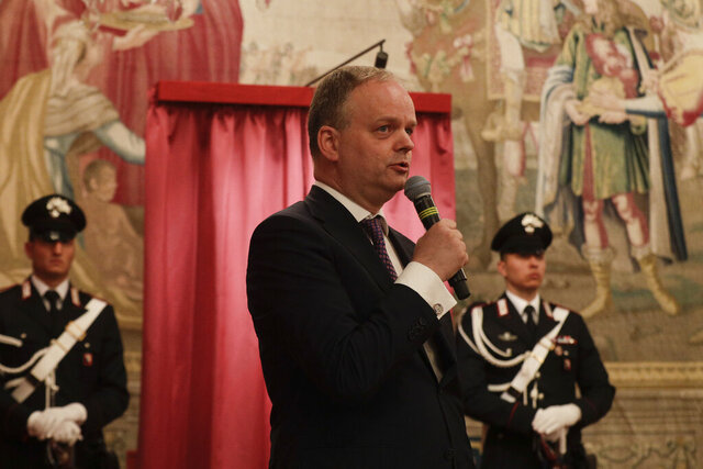 FILE - In this July 19, 2019 file photo, director of the Uffizi Gallery Eike Schmidt speaks during the unveiling ceremony of the