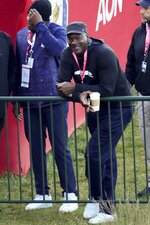 Michael Jordan waits for the start of a foursomes match the Ryder Cup at the Whistling Straits Golf Course Saturday, Sept. 25, 2021, in Sheboygan, Wis. (AP Photo/Ashley Landis)