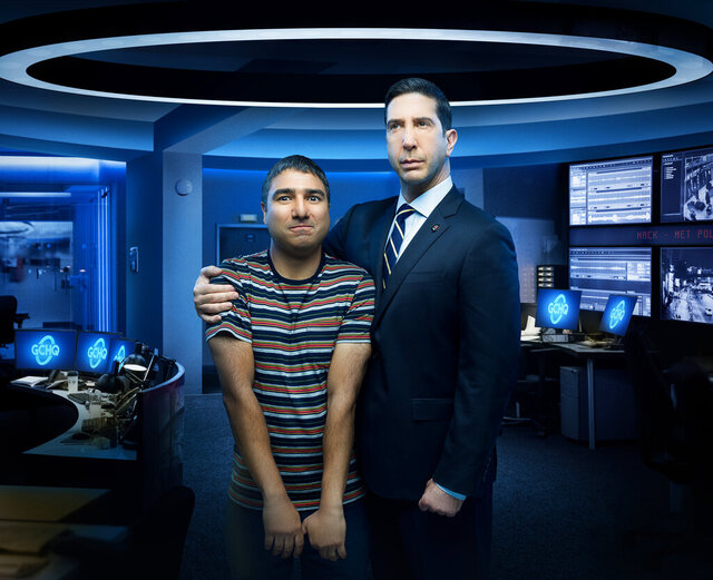 This image released by Peacock shows Nick Mohammed, left, and David Schwimmer from the series