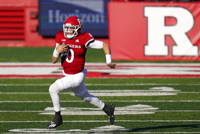 Rutgers quarterback Noah Vedral (0) gains yardage in the first quarter of an NCAA college football game against Indiana, Saturday, Oct. 31, 2020, in Piscataway, N.J. (AP Photo/Corey Sipkin)