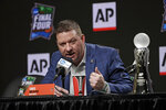 Texas Tech basketball coach Chris Beard speaks during a news conference after being named The Associated Press College Basketball Coach of the Year Thursday, April 4, 2019, in Minneapolis. (AP Photo/David J. Phillip)