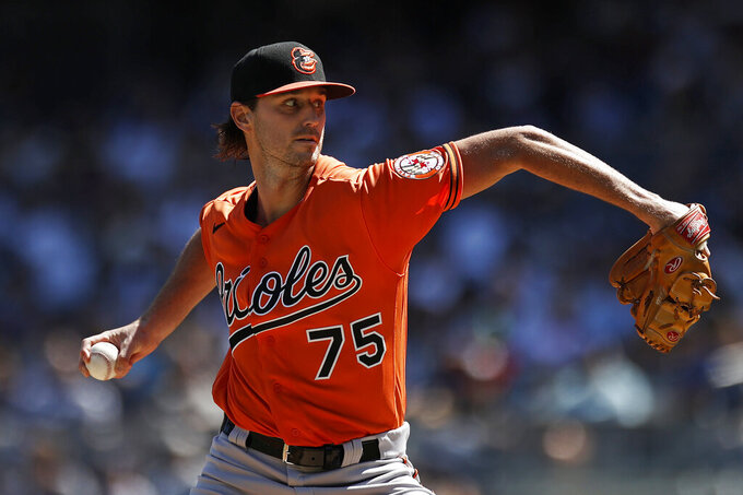 Baltimore Orioles pitcher Chris Ellis delivers to the New York Yankees during the second inning of a baseball game on Saturday, Sept. 4, 2021, in New York. (AP Photo/Adam Hunger)