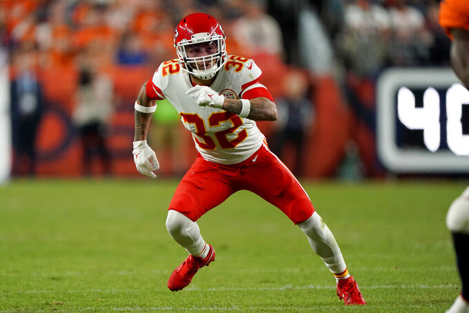 Kansas City Chiefs strong safety Tyrann Mathieu (32) runs a play against the Denver Broncos during the first half of an NFL football game, Thursday, Oct. 17, 2019, in Denver. (AP Photo/Jack Dempsey)