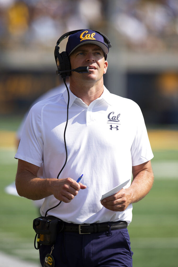 California head coach Justin Wilcox watches his team take on North Carolina during the second half of an NCAA college football game, Saturday, Sept. 1, 2018, in Berkeley, Calif. Cal won 24-17. (AP Photo/D. Ross Cameron)