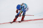 United States' Mikaela Shiffrin crosses the finish line during an alpine ski, women's World Cup giant slalom, in Lenzerheide, Switzerland, Sunday, March 21, 2021. Shiffrin finished in second place. (AP Photo/Gabriele Facciotti)